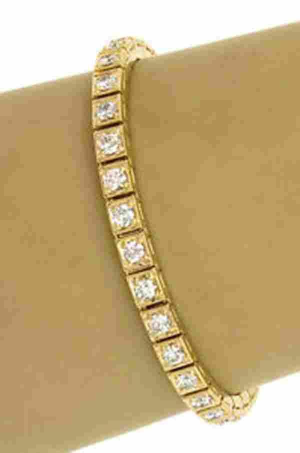 Estate 18k Yellow Gold 5ctw Round Cut Diamond Ladies