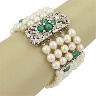 Estate 14k White Gold 8mm Pearls 9.55ct Diamond &