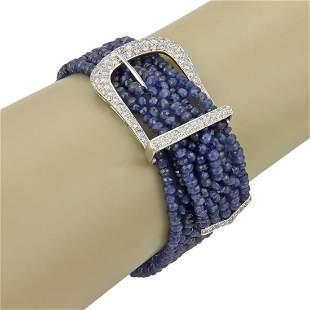 Estate 18k White Gold 1.85ct Diamond Beaded Sapphire