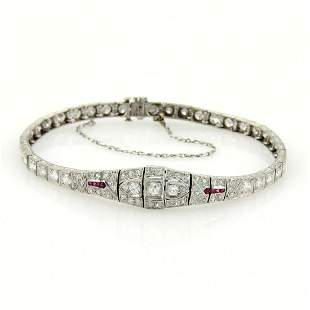 Art Deco Platinum French Cut Rubies 2.75ct Diamonds