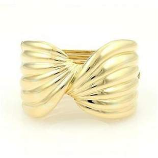 Estate 18kt Yellow Gold Ribbed Wide Twisted Front Cuff