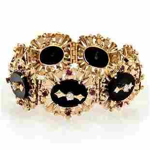 Vintage Retro 18k Rose Gold Diamond Rubies & Onyx