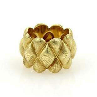 Henry Dunay 18k Yellow Gold Fancy Textured Design Wide