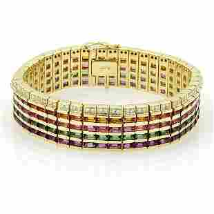 18k Y/Gold 35.15ctw Diamond Citrine Amethyst &