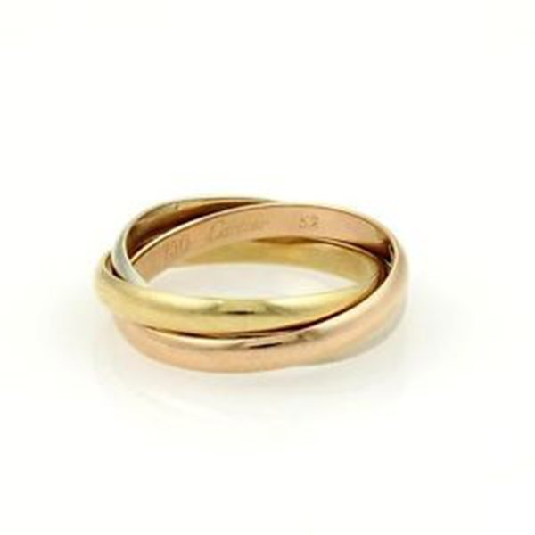 Cartier 18k Tri-Color Gold Trinity Rolling Bands Ring