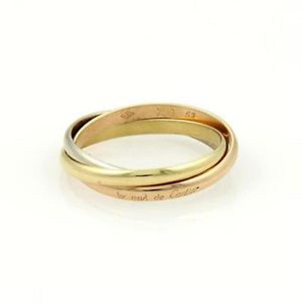 "Cartier 18k Tri-Color Gold ""Trinity"" Rolling Bands Ring"