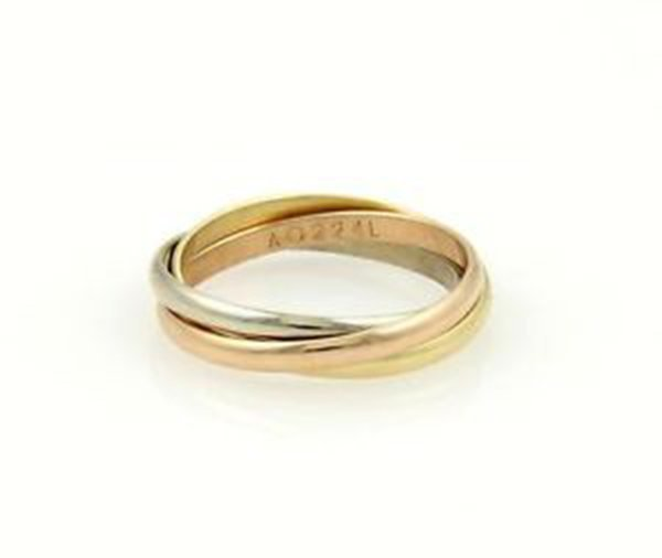 "Cartier 18k Tri-Color Gold ""Trinity"" Rolling Bands Ring - 3"