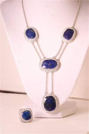 Stunning Lapis necklace & matching ring.