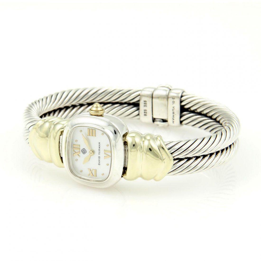 David Yurman 925 Silver 14k YGold Ladies Wrist Watch