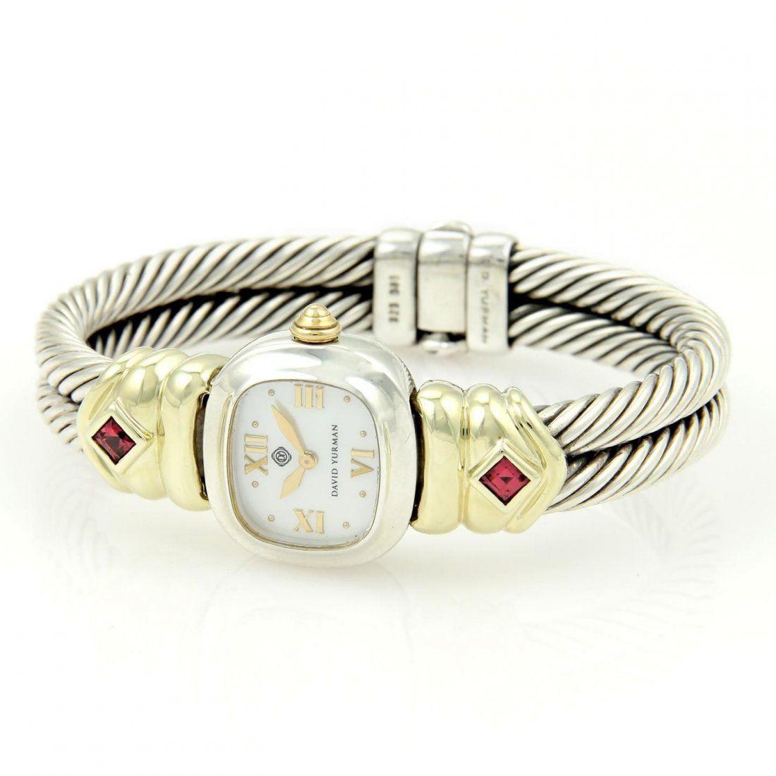 David Yurman Chelsea 925 Silver 14k Gold Pink