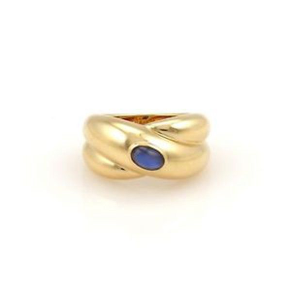 Cartier 18K Yellow Gold Blue Sapphire Cabochon