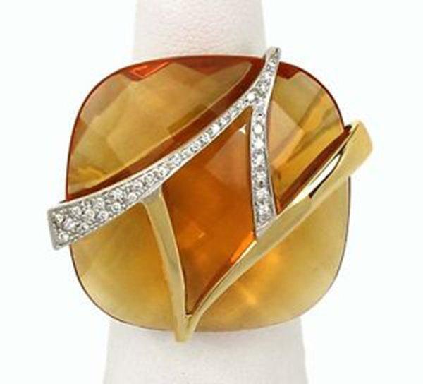 New 18k Two Tone Gold Large Orange Quartz & Diamond