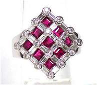 Estate Platinum 1.20ct Diamond & 1.51 ct. Rubies Weave