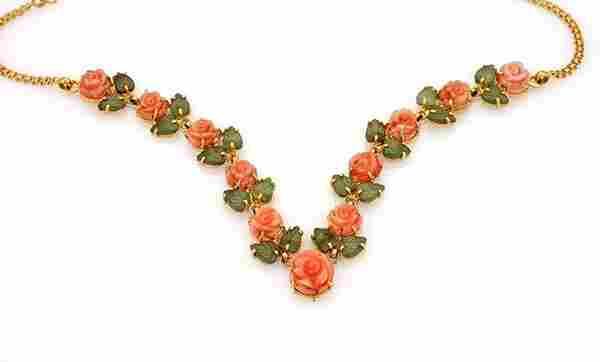 Estate 22k Yellow Gold Coral & Jade Roses & Leaves