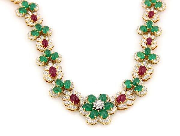 Estate 18K YG Diamond Ruby & Emerald Cabochon Floral