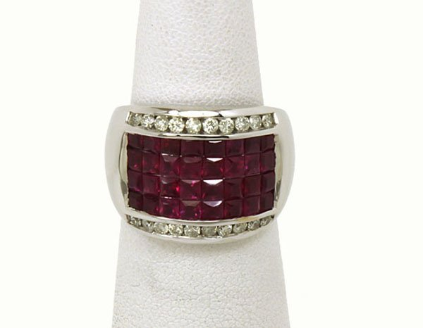 Magnificen?t 14k GOLD, 4ctw Diamond & Princess Cut Ruby