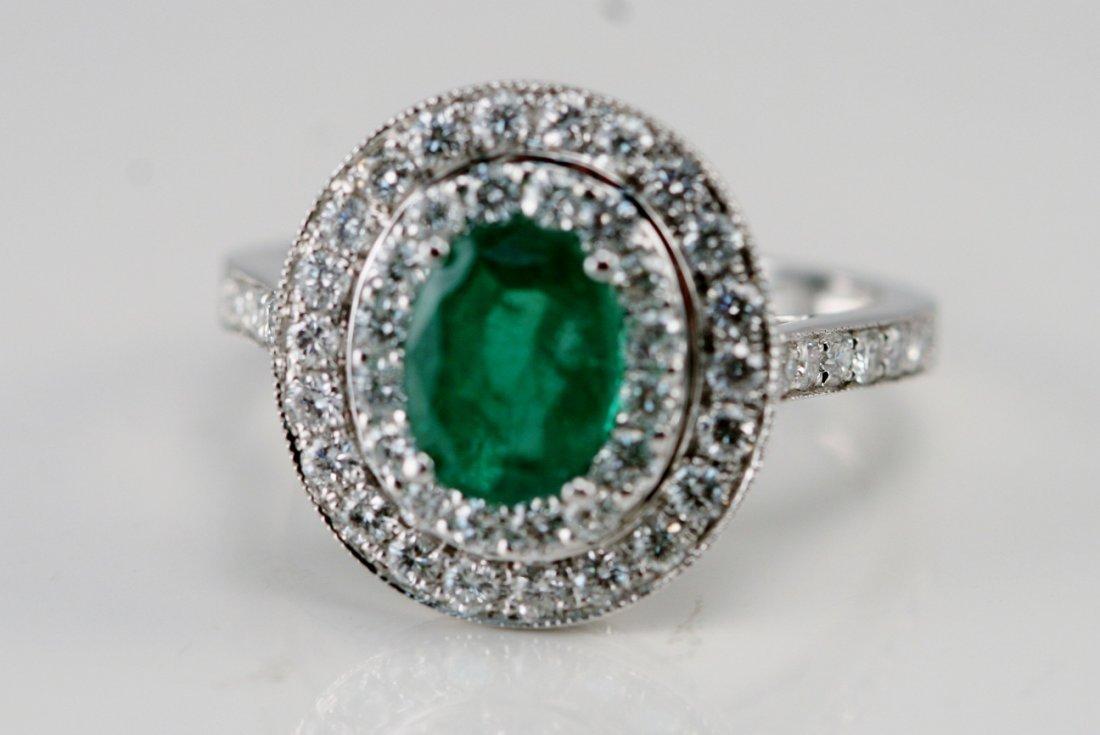 14K WG DIAMOND & EMERALD RING