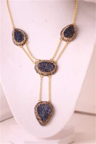 Stunning designer Lapis crystal necklace.