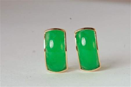 Gorgeous Jade and 14k yellow gold earrings.