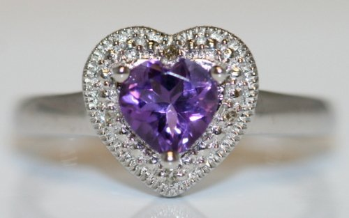 14K Y/GOLD DIAMOND AND AMETHYST RING