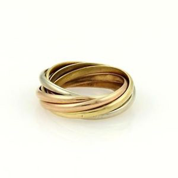 Cartier 18k Tri-Color Gold Trinity Rolling 7 Bands Ring - 2