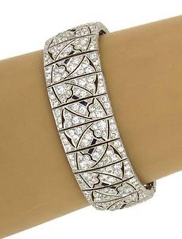Antique Art Deco Platinum 12.7ctw Diamond & Sapphire