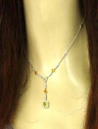 Elegant 14k White Gold 4ctw Diamonds, Citrine & Peridot
