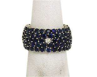 18k White Gold 15.30ctw Diamonds & Blue Sapphire Flex