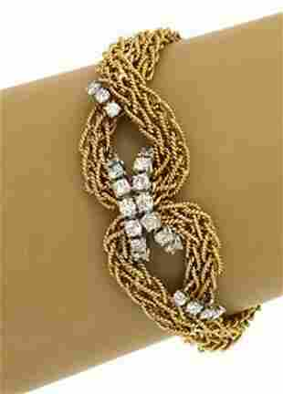 18k Two Tone Gold 2ctw Diamond Infinity Knot Cable Wire