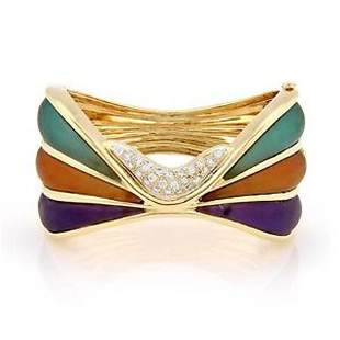 Estate 18K Yellow Gold Multi Colored Frosted Crystal
