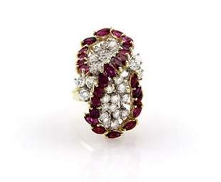 Estate 14K Yellow Gold Diamond Ruby Cluster Cocktail