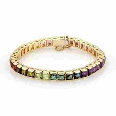 Estate 14k Yellow Gold 16ct Multi-Color Gemstones