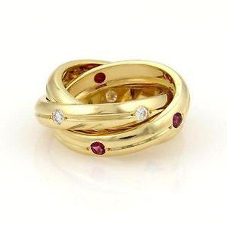 Cartier 18k Gold Diamond Sapphire Ruby Trinity Rolling