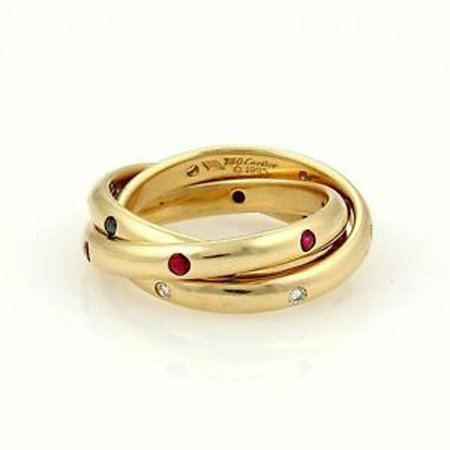 Cartier 18k YGold Diamond Sapphire Ruby Trinity Rolling
