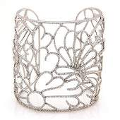 Estate 18K White Gold 4ct Pave Diamond Floral Cuff