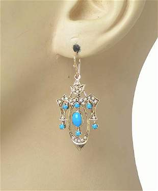 Antique Vintage 9k Yellow Gold Turquoise & Seed Pearl