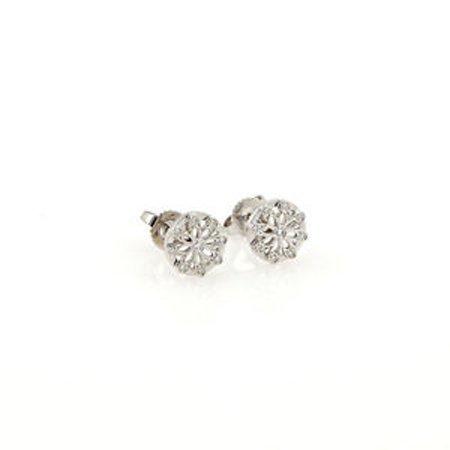 Tiffany & Co. 18K White Gold Diamond Flower Stud
