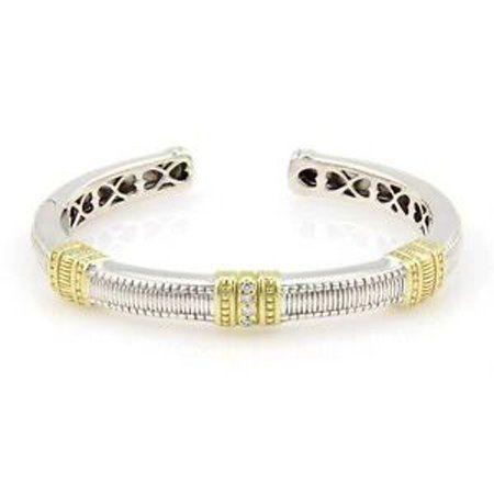 Judith Ripka Sterling Silver & 18K Yellow Gold Diamond
