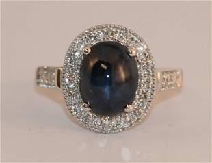 14K W/G LADIES DIAMOND & SAPPHIRE RING