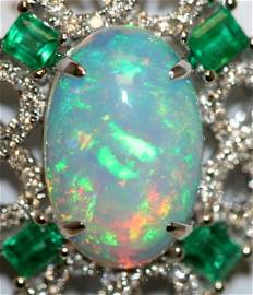 14K W/GOLD STUNNIN DIAMOND EMERALD & OPAL NECKLACE