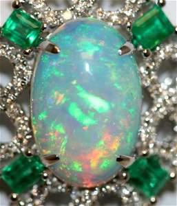14K W/GOLD STUNNIN DIAMOND EMERALD & OPAL NECKLACE