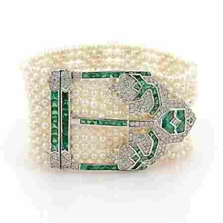Estate 18k White Gold Pearls 8.40ct Diamond & Emerald 9