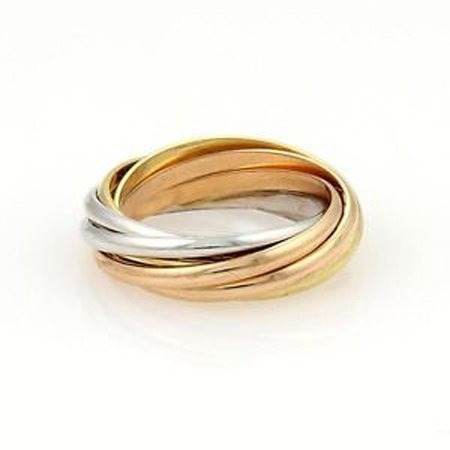 Cartier 18k Tri-Color Gold Trinity Rolling 7 Bands Ring