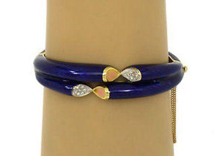 Vintage 18k Two Tone Gold Diamond & Cobalt Blue Enamel