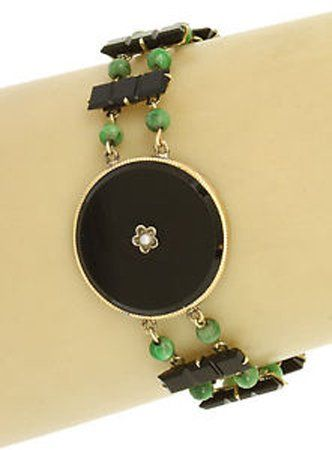 Antique Victorian 14k Yellow Gold Black Onyx & Green