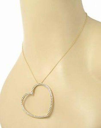 18k Yellow Gold 1.40ctw Diamond Large Open Heart
