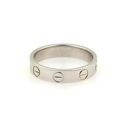 Cartier Platinum 3.5mm Wide Mini Love Band Ring Size EU