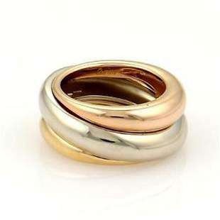 Cartier 18k Tri-Color Gold Triple Dome Design Band Ring