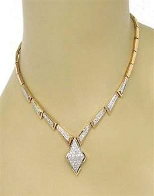Vintage 14kt Two Tone Gold 1.40ctw Diamond Geometric
