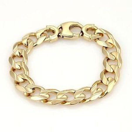 Men's 14K Yellow Gold 15mm Wide Large Curb Link